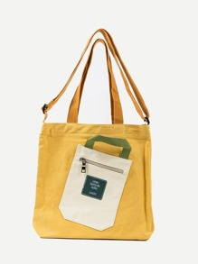 Side Pocket Decor Canvas Bag