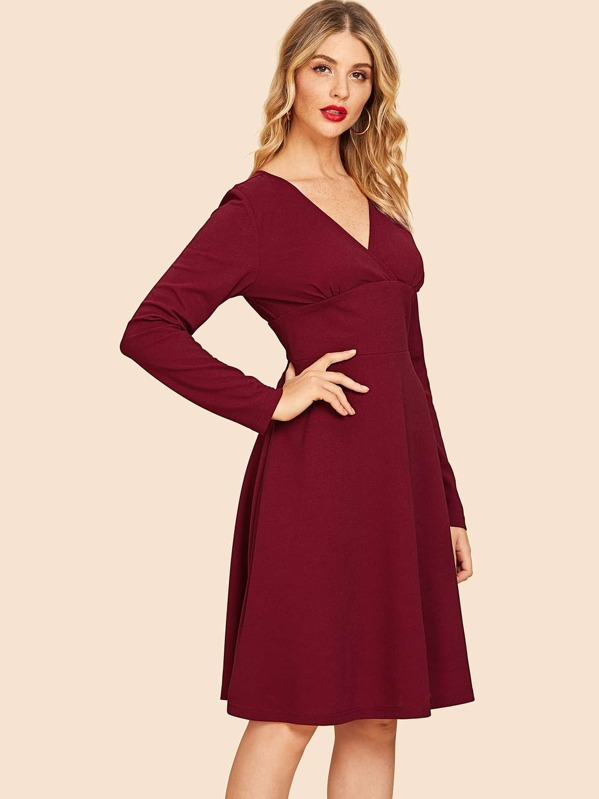 a513841afc Cheap 80s V Neck Solid Flare Dress for sale Australia | SHEIN