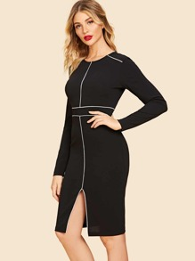 80s Contrast Tipping Slit Dress