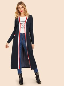 80s Open Front Striped Trim Dusty Coat