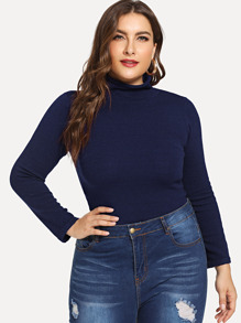 Plus High Neck Slim Fitted Jumper