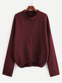 Plus Drop Shoulder Solid Dip Hem Sweater