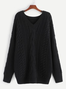 Plus Mixed Knit Solid Sweater