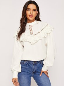 Lace Ruffle Detail Solid Top