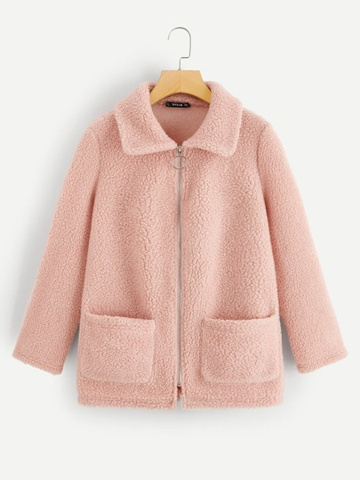 44f94a0f2e43f Pocket Front O-Ring Zip Up Teddy Jacket