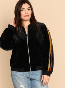 Plus Contrast Tape Side Zip Up Velvet Jacket