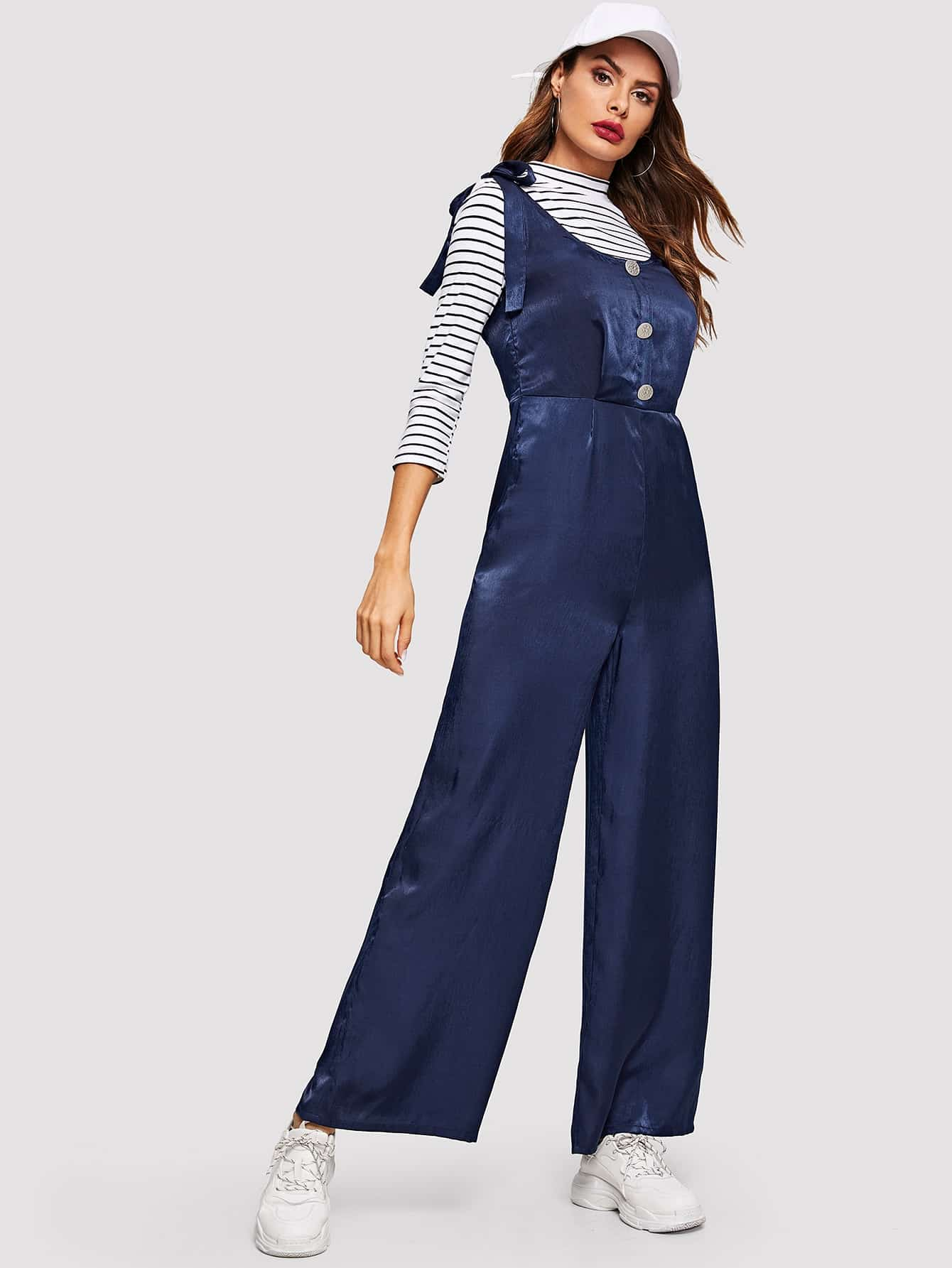 6ab019c0cd92 Self Tie Shoulder Button Front Palazzo Jumpsuit -SheIn(Sheinside)
