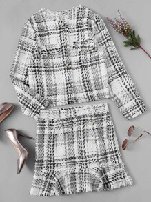 Button Up Frayed Trim Tweed Coat & Skirt Set