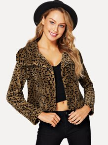 Leopard Print Teddy Coat