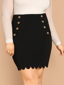 Plus Double Breasted Detail Scallop Edge Skirt