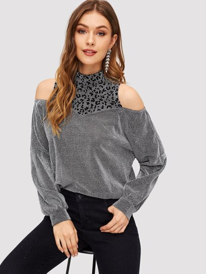 Leopard Yoke Cold Shoulder Glitter Top