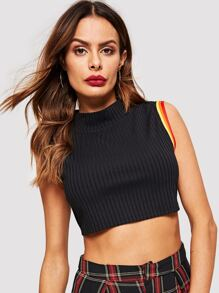Rainbow Striped Mock Neck Crop Top