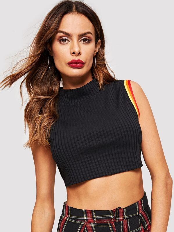 elegant shape new styles new items Rainbow Striped Mock Neck Crop Top
