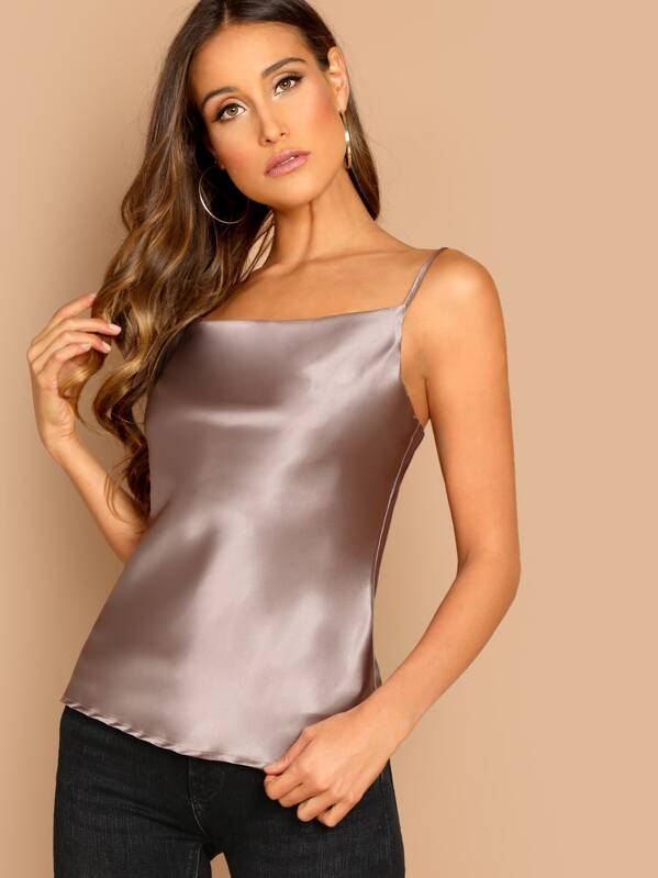 1d985f65d4 Satin Cowl Neck Cami Top | SHEIN IN