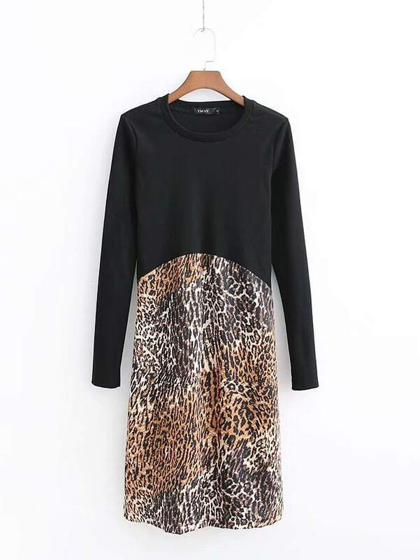 Contrast Leopard Print Dress Contrast Leopard Print Dress
