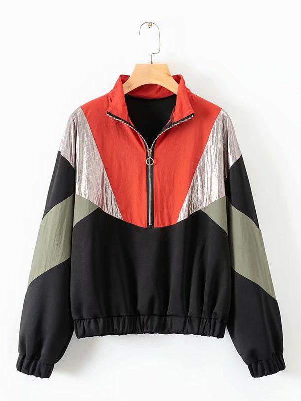 Cut And Sew Half Zip Sweatshirt Cut And Sew Half Zip Sweatshirt