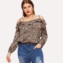 Plus Cheetah Print Cold Shoulder Blouse