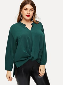 Plus Twist-front Asymmetric Hem Blouse