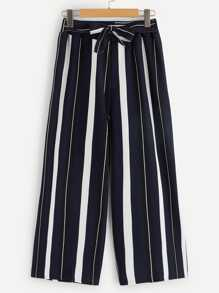 Striped Wide Leg Waist Tie Palazzo Pants