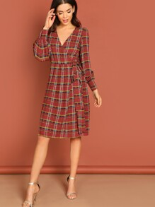 Surplice Neck Tie Plaid Dress
