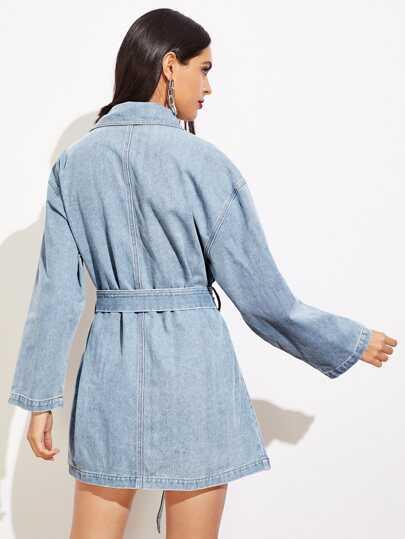 5bb39c8fcb3 Pocket Patched Buttoned Denim Dress | ROMWE