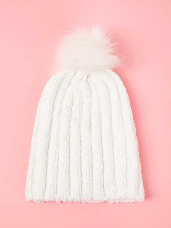 47c0ecf52 Girls Faux Fur Pom-pom Decorated Knit Beanie Hat