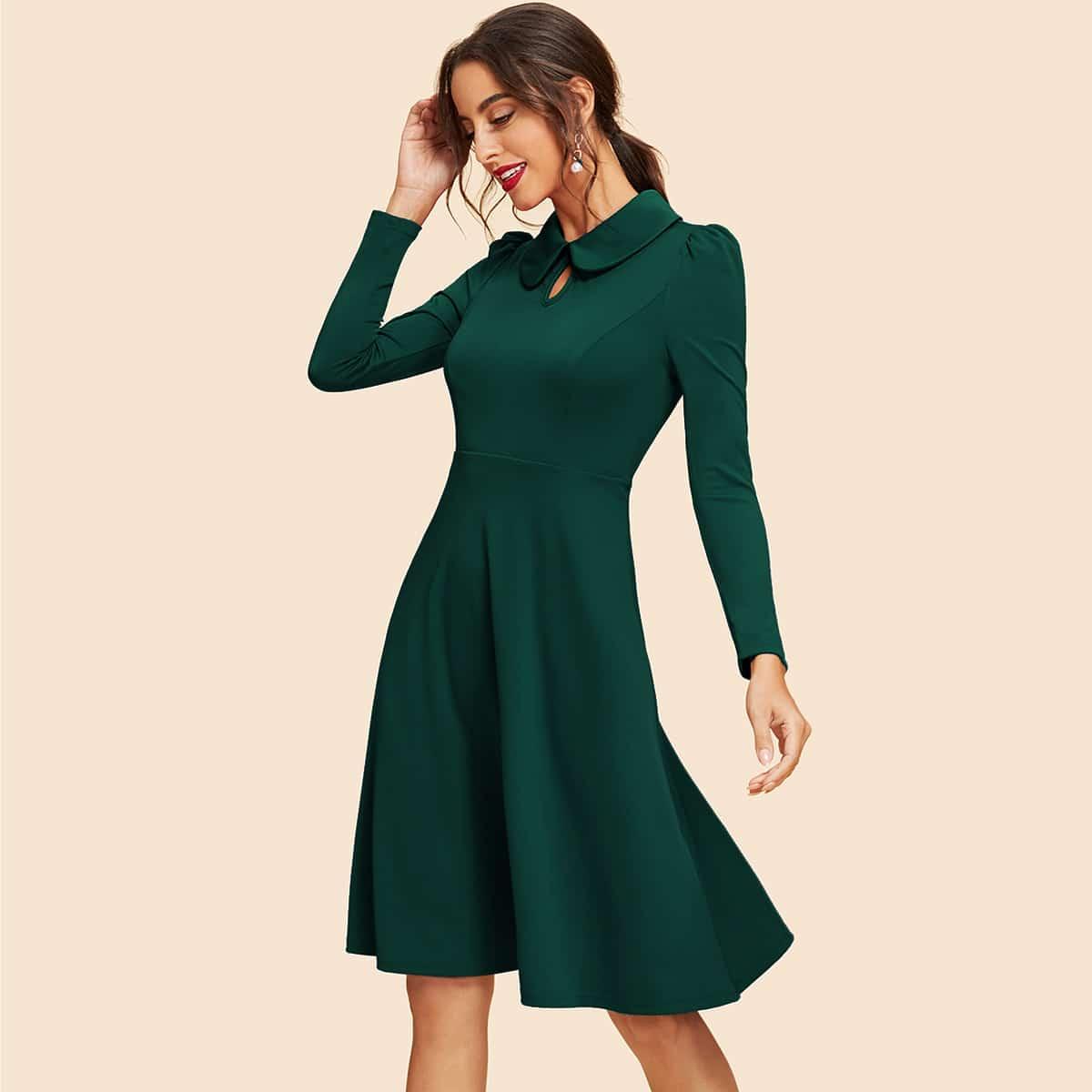 Платье клеш с длинными рукавами