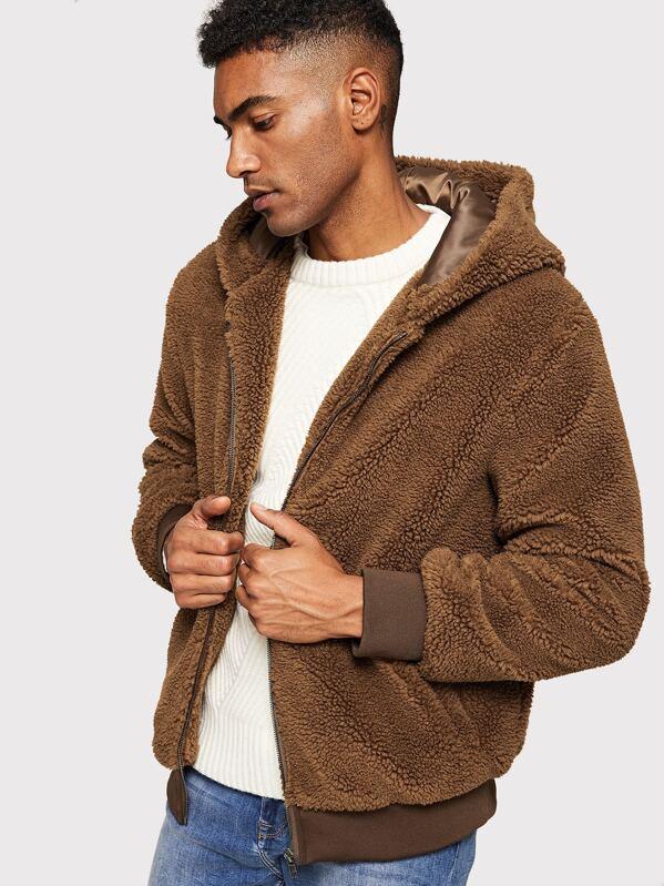 bdef3f7b1 Men Solid Zipper Up Fuzzy Jacket