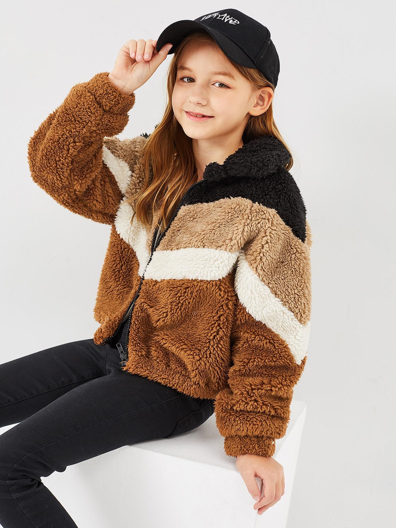Girls Color-Block Zipper Teddy Jacket Girls Color-Block Zipper Teddy Jacket