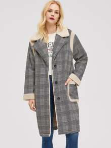 Faux Fur Detail Button Up Plaid Coat