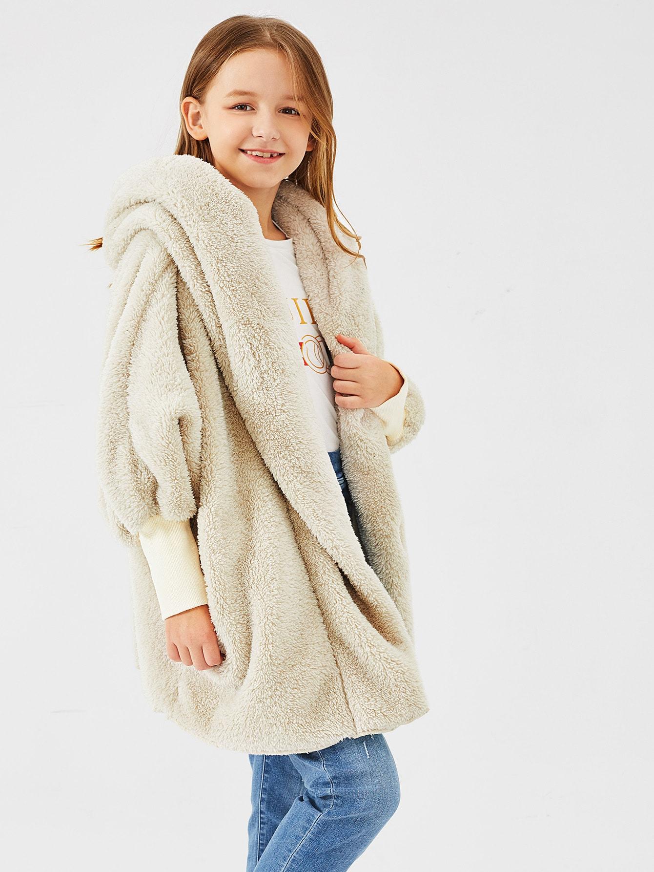 Girls Zip Up Hooded Teddy Coat Girls Zip Up Hooded Teddy Coat