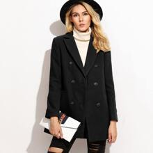 SHEIN   Double Breasted Notch Collar Coat   Goxip
