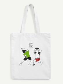 Cartoon Figure Print Tote Bag