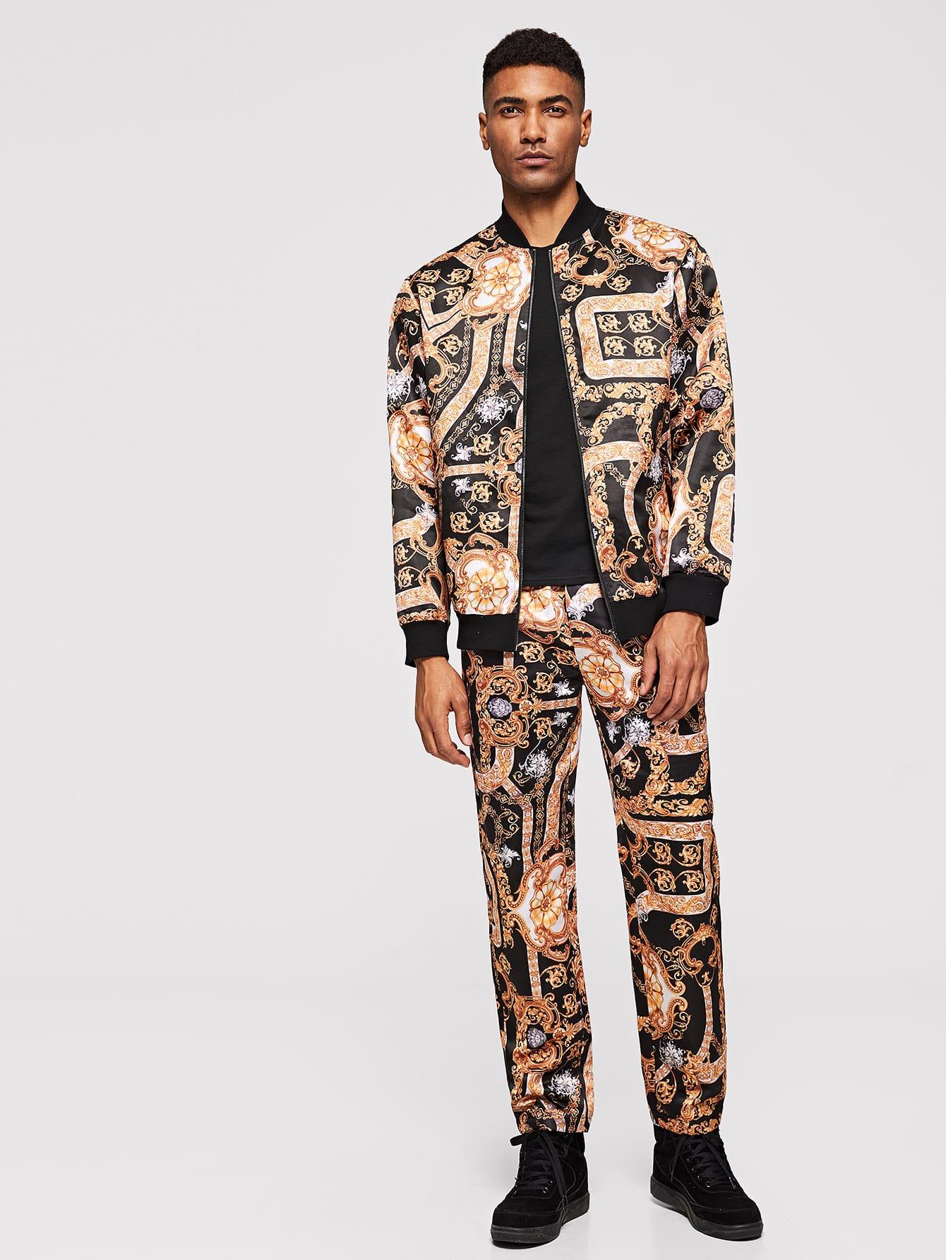 Men Zip Up Mock-Neck Chain Print Jacket & Pants Set Men Zip Up Mock-Neck Chain Print Jacket & Pants Set