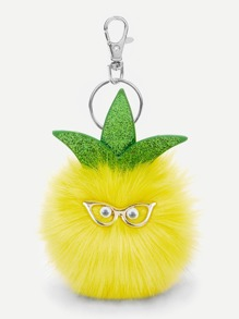 Pineapple Shaped Pom-Pom Keychain