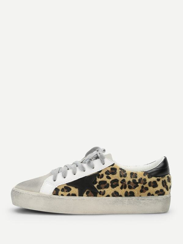 c122cb6d80f Leopard Print Lace Up Sneakers