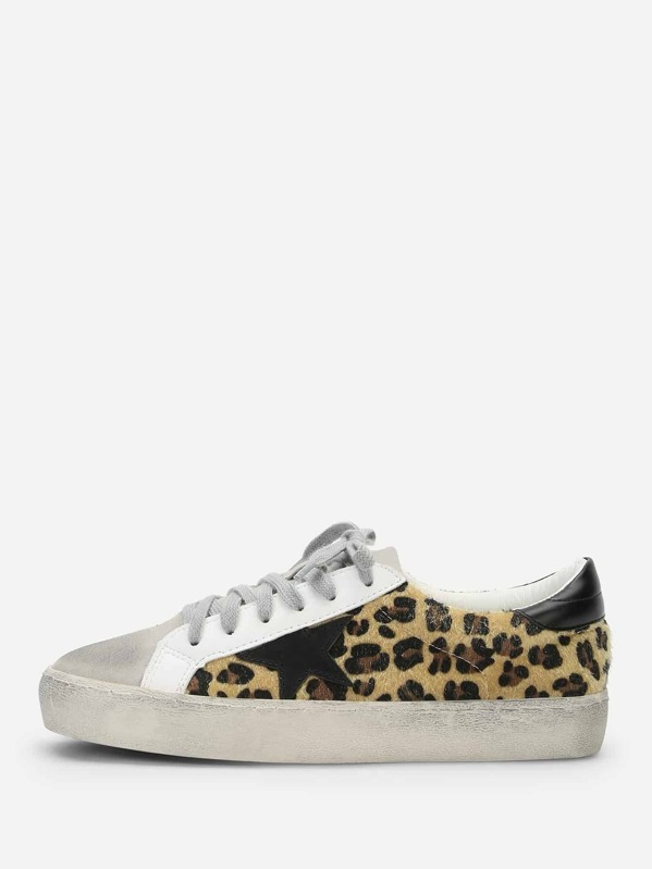 381be7742744 Leopard Print Lace Up Sneakers