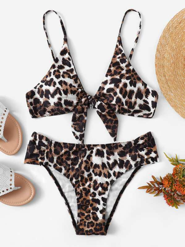 Leopard Tie Front Top With Ruched Bikini Set by Sheinside