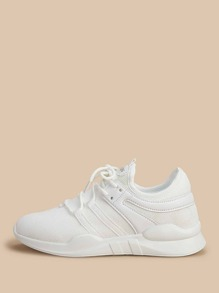 Mesh Panel Lace-up Sneakers