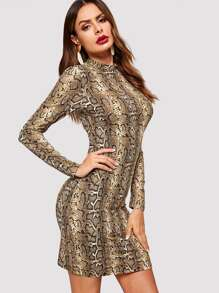 Mock-Neck Snakeskin Print Form Fitting Dress