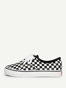 Gingham Lace-up Sneakers