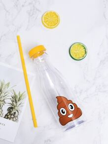 Emoji Print Water Straw Cup 650ML