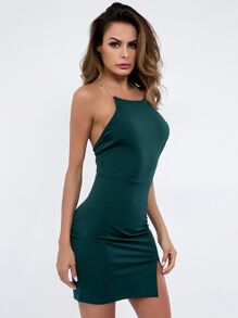 Split Side Scoop-back Cami Dress