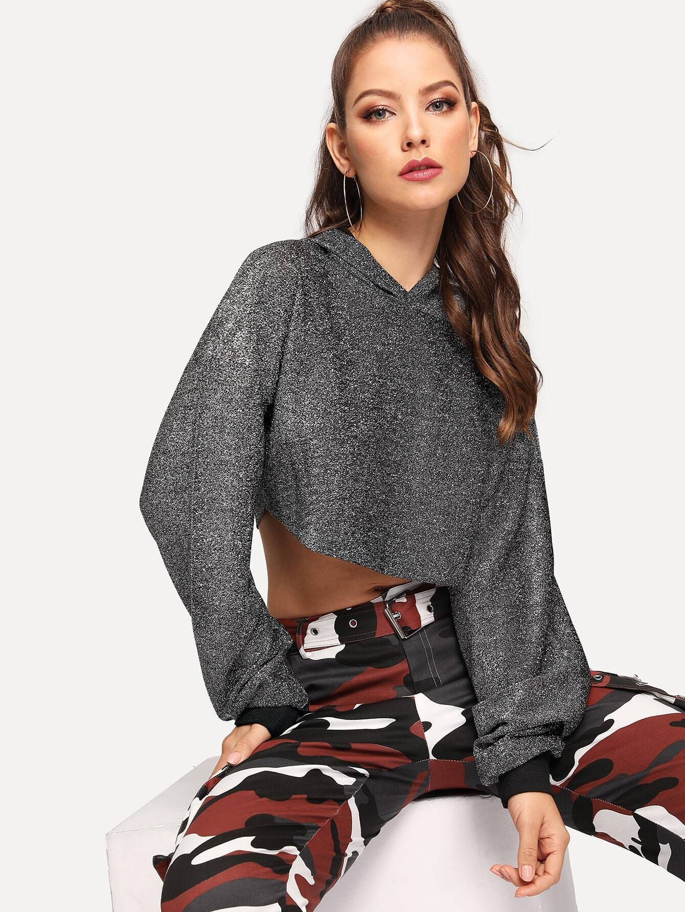 Drop Shoulder Glitter Crop Hooded Sweatshirt Drop Shoulder Glitter Crop Hooded Sweatshirt