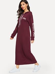 Letter Print Drop Shoulder Hooded Sweatshirt Dress