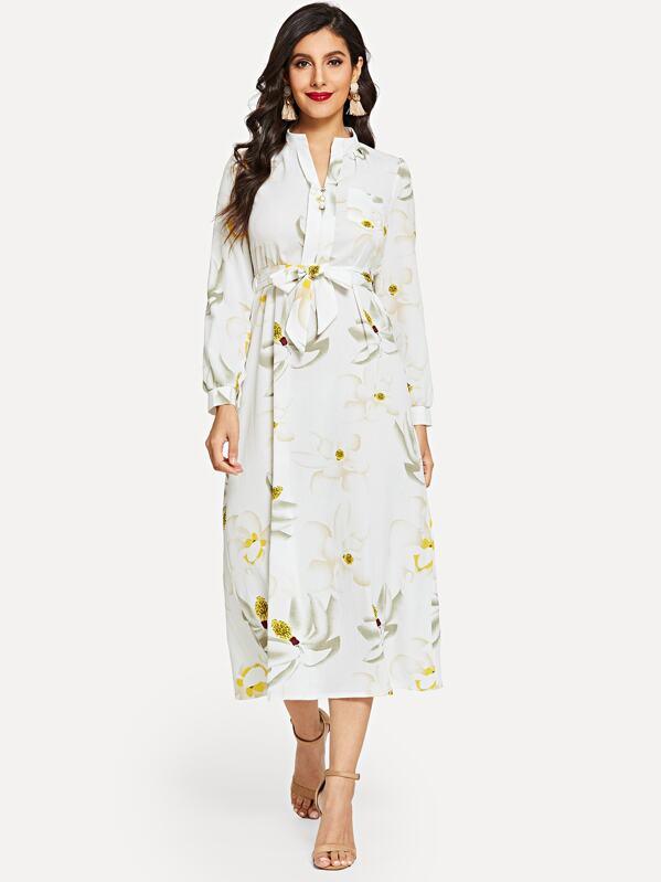 fe134199912 Длинное платье с завязкой на талией и цветочным принтом