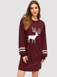 Reindeer Print Varsity-striped Sweatshirt Dress