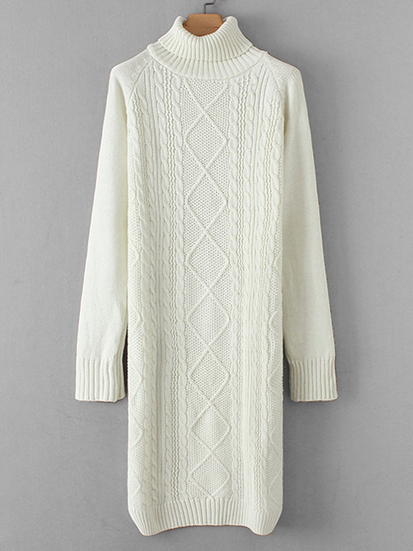 Cable Knit Raglan Sleeve Sweater Dress Cable Knit Raglan Sleeve Sweater Dress