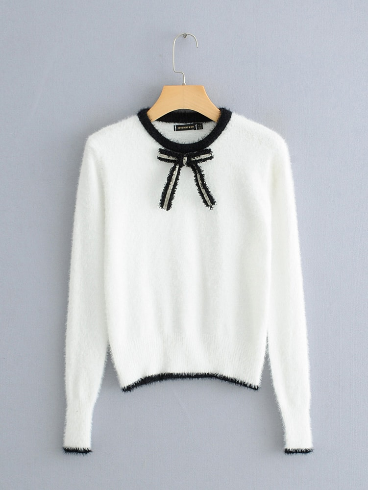 Bow Front Contrast Trim Fuzzy Jumper Bow Front Contrast Trim Fuzzy Jumper