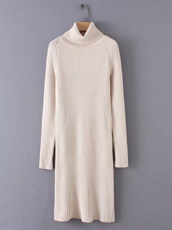 High Neck Rib Knit Trim Sweater Dress High Neck Rib Knit Trim Sweater Dress